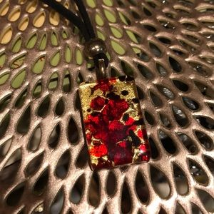 Fabulous Murano glass pendant on a leather cord
